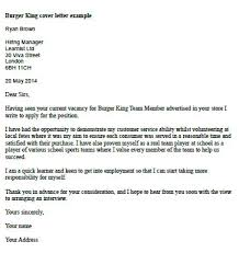 burger king cover letter example learnist org