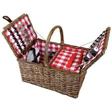 picnic basket set for 4 charles bentley lid wicker picnic basket set for 4