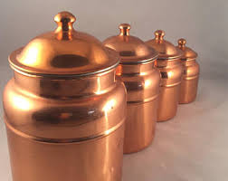 copper kitchen canister sets kitchen canister etsy
