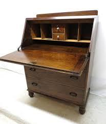 antique art deco tiger oak drop front desk secretary bureau dresser chest drawer