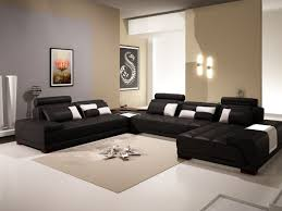 Modern Black Leather Sofas Contemporary Black Leather Sectional Sofa W Ottoman