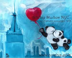 wedding gift nyc pandas illustration two pandas while