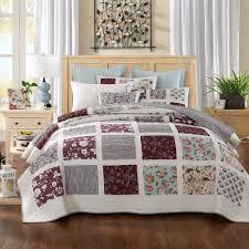Cotton Quilted Bedspread Dada Bedding Seafoam Merlot Burgundy Floral Bohemian Patchwork