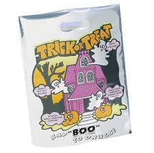 red ribbon week trick or treat say boo to drugs poly bag