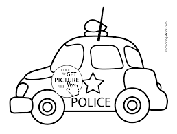 cartoon car drawing police car transportation coloring pages for kids printable free