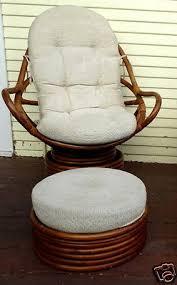 rattan bamboo swivel chair ottoman mid century modern lounge den