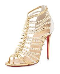 christian louboutin millaclou studded leather cage sandals in