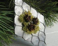 chicken wire ornaments trio silver german glass glitter pinecone