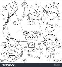 vector black white illustration children playing stock vector