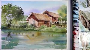 Paint The House Watercolor Landscape Painting The Houses In Riverside Youtube