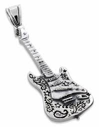 guitar necklace pendants images Silver electric guitar pendant jpg