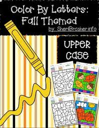color code letter recognition uppercase fall themed tpt
