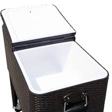 Patio Ice Cooler by Outdoor Patio Wicker Rattan 80qt Rolling Cooler Cart Yard Ice