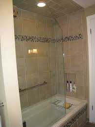 4 Shower Door 3 4 Frameless Tub Shower Door With Cabinets Transitional