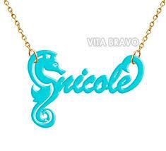 Acrylic Name Necklace Name Necklace Sea Horse Turquoise Acrylic Personalized One