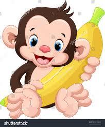 cute monkey holding banana stock vector 361764038 shutterstock