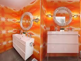 bathroom orange bathroom with vibrant orange wall also white