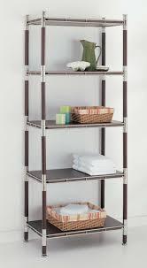Bathroom Chrome Shelves 5 Tier Wood And Chrome Shelving Unit In Bathroom Shelves