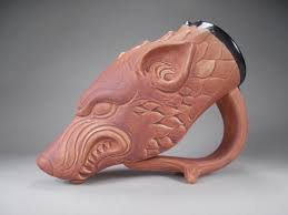 Beer Home Decor Dire Wolf Drinking Horn Beer Mug Sculptural Fantasy Art Mug