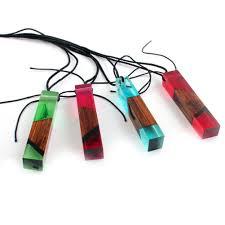wooden necklaces fashion women men necklace handmade vintage resin wood statement