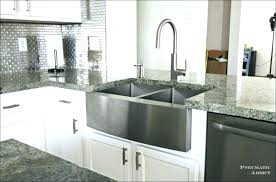 granite composite farmhouse sink kitchen with white farmhouse sink and black cabinets installing