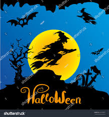 halloween background witch moon halloween witch flying on broomstick scary stock vector 321356687