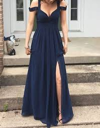 occasion dresses for weddings shoulder prom dress navy blue prom dresses high quality