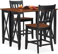 Black And Cherry Wood Dining Chairs Nantucket Breakfast Bar Black And Cherry Value City Furniture