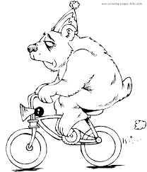 bear on a bike color page free printable coloring sheets for kids