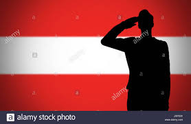 Austria Flag Silhouette Of A Soldier Saluting Against The Austria Flag Stock