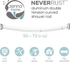 Curved Tension Shower Curtain Rods Zenna Home Neverrust Aluminum Double Curved Tension Shower Curtain