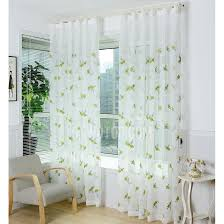 Green Sheer Curtains White Polyester Sheer Curtains Embroidery With Bug Green Floral