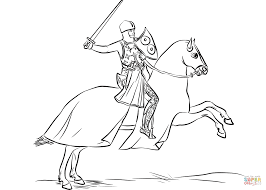 armored knight mounted on cloaked horse coloring page free