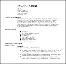 nanny resume template free entry level nanny resume templates resumenow