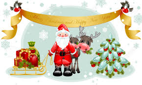 vector illustration christmas card santa claus with gifts and