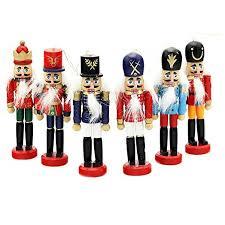 6 pcs per set decorations nutcrackers wooden soldier