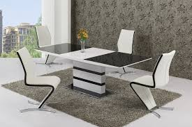 Black Glass White High Gloss Extendable Dining Table And  Chairs - Black dining table for 8