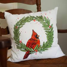 cardinal wreath pillow north carolina holiday decor
