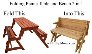 Foldable Picnic Table Bench Plans by Convertible Bench Table A Thrifty Mom Recipes Crafts Diy And
