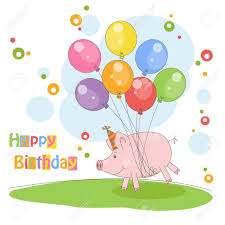 happy birthday card colorful illustration with cute pig flying