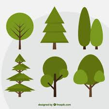 set of green trees in flat design vector free
