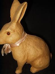 paper mache rabbit vintage paper mache 1930 1950 sitting rabbit candy container the