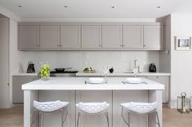 Grey Shaker Kitchen Cabinets Austin Inset Shaker Cabinets Black Laminate Floor White And Gray
