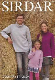 sirdar country style dk 7825 family sweaters knitting pattern