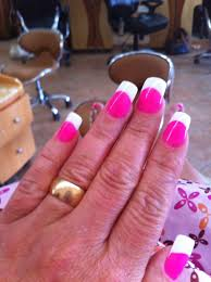 pink nails with white tips pink nails with white tips