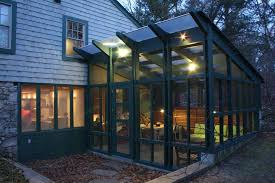 Outdoor Glass Room - boston screened in pergola porch traditional with green sofa