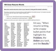 Doc 5720 Resume Action Words by Resume Action Statements Prephockey Org