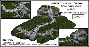 second life marketplace waterfall river scene with little cave