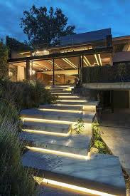 battery powered yellow tone outdoor led strips stair lights in a