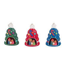 three colorful tree shaped ceramic ornaments from peru colorful